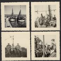 BLANKENBERGE * 4 FOTO'S * VISSERSBOOT MET VISSERS * 7 X 7 CM - Blankenberge