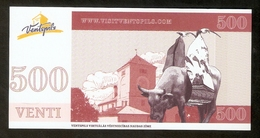 Latvia Ventspils - 500 VENTI Coupon - Cow Parade Ventspils Castle - Letland