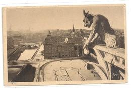 PARIS EN FLANT .137. LE PARVIS DE NOTRE-DAME ET CHIMERE DE LA CATHEDRALE . TIMBRE DECOLLE AU VERSO CARTE INTACTE .2 SCAN - France