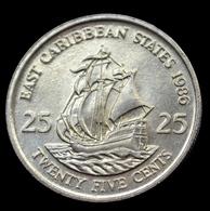 East Caribbean States 25 Cents 1986. Km14. South America Coin. UNC - Caraibi Orientali (Stati Dei)
