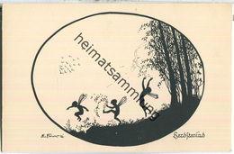 Herbstwind - Signiert E. Forck - Künstler-Schattenbild - Verlag Oppel & Hess Jena - Silhouetkaarten