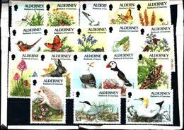 6448B)  ALDERNEY- 1994/95-FAUNA E FLORA-SERIE COMPLETA-18 VALORI-MNH** - Alderney