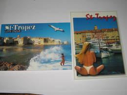 LOG1 * St Tropez Saint Tropez Femme De Dos  Sexy  Port  Lot De 2 Cartes - Saint-Tropez