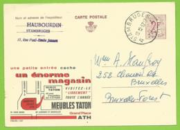 Publibel 2207 - Meubles Taton - Grand Place Ath - Plan - Expédié Stambrugge 19.12.67 - Enteros Postales