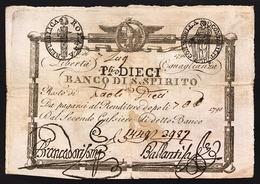 Repubblica Romana 10 Paoli 1798 Banco Di Santo Spirito N.C. Bell'esemplare Fori Ma Q.spl LOTTO 2671 - Italia