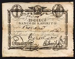Repubblica Romana 10 Paoli  1798 Banco Di Santo Spirito N.c. Bb/spl  Fori LOTTO 2672 - Italia