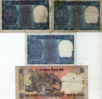 Lot De 4 Billets De L'inde - 3 Billets De 1 Rupée Et 1 De 10 Rupée - - Inde