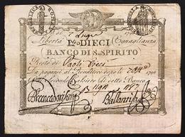 Repubblica Romana 10 Paoli 1798 Banco Di Santo Spirito N.C. Bell'esemplare Fori Ma Bb/spl LOTTO 1004 - Italia