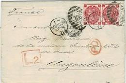 1871, Paar 3 P. , Late Fee, Nach Frankreich,  #2232 - Storia Postale