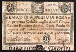 Banco Di Santo Spirito 5 Scudi 1786 Timbro Macerata R3 RRR Macchie Ma Ottimo Biglietto LOTTO 2675 - Italia