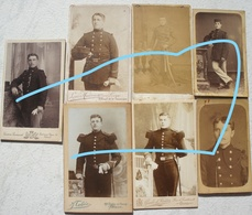 Photo X7 ABL Carte De Visite Portrait Soldats Belges Avant 1914 Militaria Uniforme Leger - Guerre, Militaire