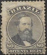 BRAZIL 1866 Emperor Dom Pedro II - 80r - Purple MH SOME PAPER ATTACHED - Ongebruikt