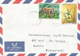 Rwanda 1992 Kigali Leopard Cat Medicinal Plant Hygrophila Auriculata Cover - 1990-99: Afgestempeld