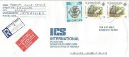 Seychelles 1995 Victoria Armory Swordfish Egret Registered Express Cover - Seychellen (1976-...)