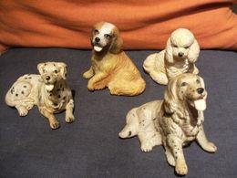 Lot De 4 Petits Chiens - Figuration Realiste - Caoutchouc - - Chiens