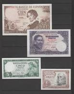 ESPAÑA LOTE DE 4 BILLETES TODOS PLANCHA MENOS EL 100 Pts. QUE TIENE UNA LIJERA DOBLEZ (C.B) - [ 3] 1936-1975: Regime Van Franco