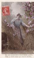 CARTE FANTAISIE  CPA . JEUNE FEMME DANS LES BLÉS COIFFÉE DE MARGUERITES.  PHOTO D'ART WALERY PARIS. ANNÉE 1908 - Femmes