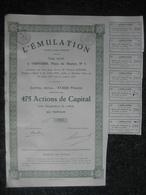 Action De Capital De 1929 VERVIERS - L'EMULATION - Actions & Titres
