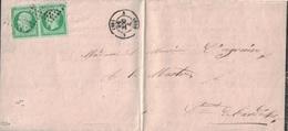 RHONE - LYON - EMPIRE - N°12 EN PAIRE - LE 7 OCTOBRE 1859 - SIGNATURE CALVES - LETTRE DE DEUIL POUR LAMASTRE ARDECHE. - 1849-1876: Classic Period