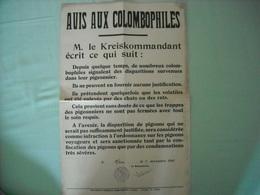 Avis Aux Colombophiles De La Kreiskommantur 1941 (disparition De Pigeons) - 1939-45
