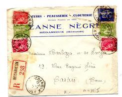 Lettre Recommandée Bedarieux Sur Mercure Paix  Entete Cuir Negre - Marcophilie (Lettres)