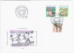 Switzerland Swiss Schweiz Svizzera Helvetia 1995 FDC Farming, Goose Geese Sheep Sheeps Donkey Ass Fauna - FDC