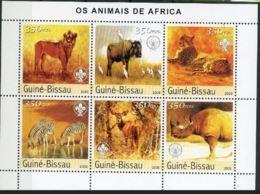 Guinée Bissau 2003  Cats Chats Lion Léopard Zèbre Rhinoceros Scoutism Scoutisme - Big Cats (cats Of Prey)