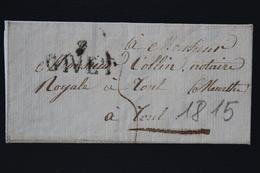 France Letter Givet (7 Givet Line) To Toul 1815 (napoleontic War Mail) - Poststempel (Briefe)