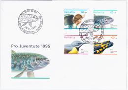Switzerland Swiss Schweiz Svizzera Helvetia 1995 FDC Fauna Fish Fishes Salamander Angel Bird Birds, Pro Juventute - FDC