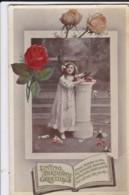 AQ52 Greetings - Loving Birthday Greetings - Girl, Flowers, Tuck Gem Glosso - Birthday