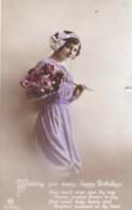 AQ52 Greetings - Wishing You Many Happy Birthdays - Girl With Flowers - Birthday