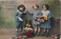 AQ52 Greetings - A Glad And Happy Birthday - 3 Children With Dog - Birthday