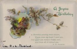 AQ52 Greetings - A Joyous Birthday - Cottage, Acorns - Birthday