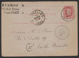 """EP (réponse) Au Type 10ctm Rouge Obl Double Cercle """"Paris / étoile"""" (1885) Vers Ixelles - Bruxelles. Texte Au Verso - AK [1871-09]"""