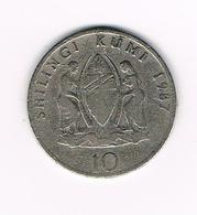 // TANZANIA  10 SHILINGI  1987 - Tanzanía