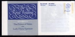 GREAT BRITAIN GRAN BRETAGNA 1981 ROYAL WEDDING AEROGRAMME AEROGRAM AIR LETTER UNUSED NUOVO - Interi Postali