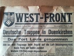 """DEUTSCHE TRUPPEN IN DUENKERKE, 2 VIEUX JOURNAUX """"WEST -  FRONT""""  ANNÉE 1940 WAR 1939 - 1945 - Revues & Journaux"""
