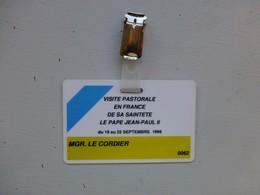 Visite Du Pape Jean-Paul II 1996, Badge De L'évêque Mgr Le Cordier , Unique, Ref 452 ; PAP05 - Religion &  Esoterik