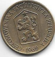 Czechoslovakia 1 Koruna  1969  Km 50  Xf+ - Tschechoslowakei