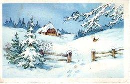 Winterlandschaft Mit Haus Und Vögel 1942 Feldpost - Weihnachten