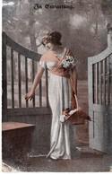 In Erwartung (auf Den Schatz) Frau Mit Blumenkorb Ca 1920 - Paare