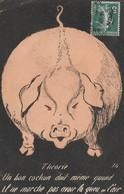 CPA Grivoise Animal Cochon Porc Pig Queue En L' Air Humour Illustrateur (2 Scans) - Pigs