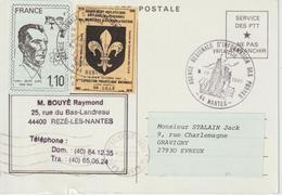 Vignette Expo Lille Et Vignette Joliot Curie 1.10 Sur Carte En Franchise Code Postal 1981 - Esposizioni Filateliche
