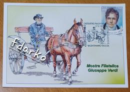 Giuseppe Verdi Calesse Annullo Filatelico Castelvetro Piacentino - San Giuliano Piacentino Maximum - Cantanti E Musicisti