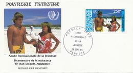 First Day Cover Tahiti Papeete 1985 Vahiné Bicentenaire JJ Audubon Born In Cayes Haiti - Polynésie Française