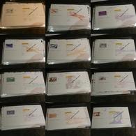 Lot De 12 Chèques La Poste (CCP) - SPECIMEN - Illustrations Poste Aérienne - Tous Différents - Cheques & Traverler's Cheques