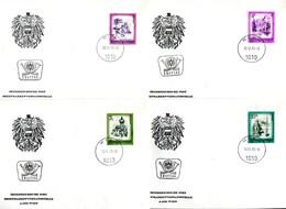 07536) Österreich - Mi 1430 / 1433 - ANK 1589,1591,1594,1597 - 4 FDC - Schönes Österreich S4,5,7,10 - FDC