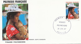 First Day Cover Tahiti Papeete 1987  Visages Polynesiens  Mère Et Enfant - Polynésie Française
