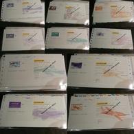 Lot De 10 Chèques La Poste (CCP) - SPECIMEN - Illustrations Poste Aérienne - Tous Différents - Cheques & Traverler's Cheques
