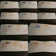 Lot De 10 Chèques La Poste (CCP) - SPECIMEN - Illustrations Poste Aérienne - Tous Différents - Chèques & Chèques De Voyage